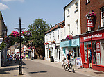 Main pedestrianised shopping street in the town of Thetford, Norfolk, England