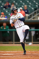 Montgomery Biscuits shortstop Daniel Robertson (4) reacts to getting hit by a pitch during a game against the Jackson Generals on April 29, 2015 at Riverwalk Stadium in Montgomery, Alabama.  Jackson defeated Montgomery 4-3.  (Mike Janes/Four Seam Images)