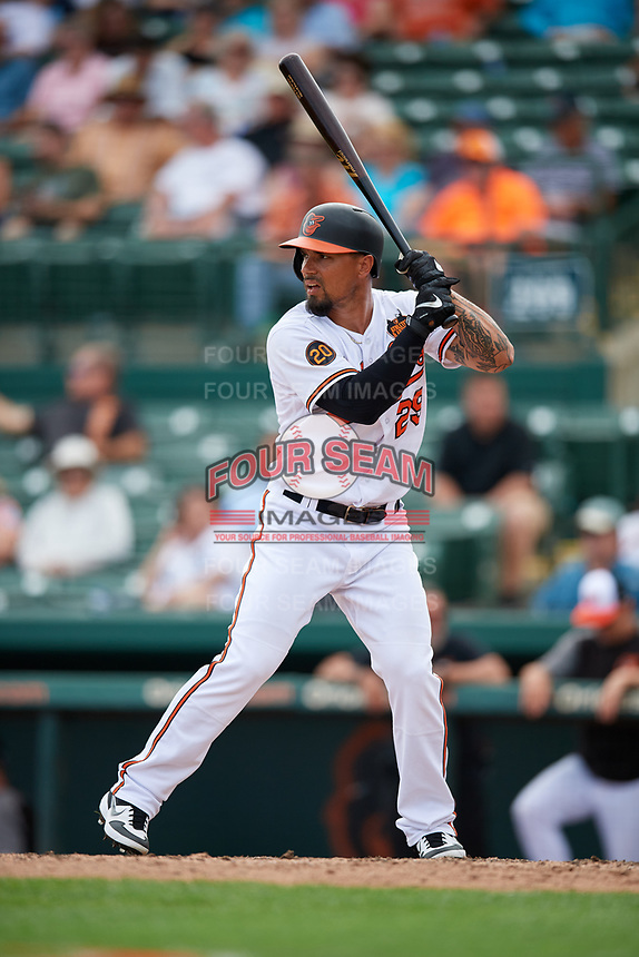 Baltimore Orioles second baseman Jace Peterson (29) at bat during a Grapefruit League Spring Training game against the Tampa Bay Rays on March 1, 2019 at Ed Smith Stadium in Sarasota, Florida.  Rays defeated the Orioles 10-5.  (Mike Janes/Four Seam Images)