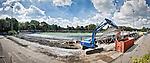 AMSTELVEEN - PANORAMA  (merge). De hoofdtribune van het Wagener hockeystadion (1939) wordt gesloopt om plaats te maken voor nieuwbouw. Het Wagener-stadion is een Nederlands hockeystadion. Het complex is sinds 1980 eigendom van de Koninklijke Nederlandse Hockey Bond (KNHB). COPYRIGHT KOEN SUYK