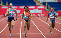 Josee-Marie TA LOU of Ivory Coast wins her heat of the 100m in 10.94 with Jura LEVY (right) of Jamaica 2nd (11.15) & Dafne SCHIPPERS of NED 4th (11.19) during the Muller Grand Prix Birmingham Athletics at Alexandra Stadium, Birmingham, England on 20 August 2017. Photo by Andy Rowland.