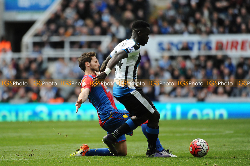 Cheik Tioté of Newcastle United battles with Yohan Cabaye of Crystal Palace during Newcastle United vs Crystal Palace, Barclays Premier League Football at St. James' Park on 30th April 2016