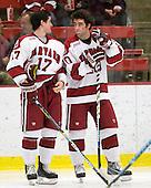 Rence Coassin (Harvard - 17), Louis Leblanc (Harvard - 20) - The Boston University Terriers defeated the Harvard University Crimson 6-5 in overtime on Tuesday, November 24, 2009, at Bright Hockey Center in Cambridge, Massachusetts.