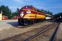 AJ1439, train, New Hampshire, Red locomotive displayed at Conway Scenic Railroad Station built in 1874 & Museum in North Conway, New Hampshire.
