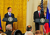 United States President Barack Obama, right, conducts a joint press conference with President Dmitry Medvedev of the Russian Federation, left, in the East Room of the White House in Washington, D.C. on Thursday, June 24, 2010..Credit: Ron Sachs / CNP