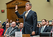 Vice Admiral Joseph Maguire (US Navy retired), acting Director of National Intelligence, is sworn-in to give testimony before the US House Permanent Select Committee on Intelligence on the  Whistleblower Complaint on Capitol Hill in Washington, DC on Thursday, September 26, 2019.<br /> Credit: Ron Sachs / CNP<br /> (RESTRICTION: NO New York or New Jersey Newspapers or newspapers within a 75 mile radius of New York City)