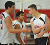 Floral Park No. 13 Ryan Engel, right, celebrates with No. 7 Nick Felicetti, left, and No. 11 Bobby Shinde as their team closes in on a victory over Farmingdale in a Nassau County varsity boys' volleyball match at Floral Park High School on Thursday, September 24, 2015. Engel tallied 18 kills, 21 assists and six aces in Floral Park's 23-25, 25-19, 25-15, 25-12 win.<br /> <br /> James Escher