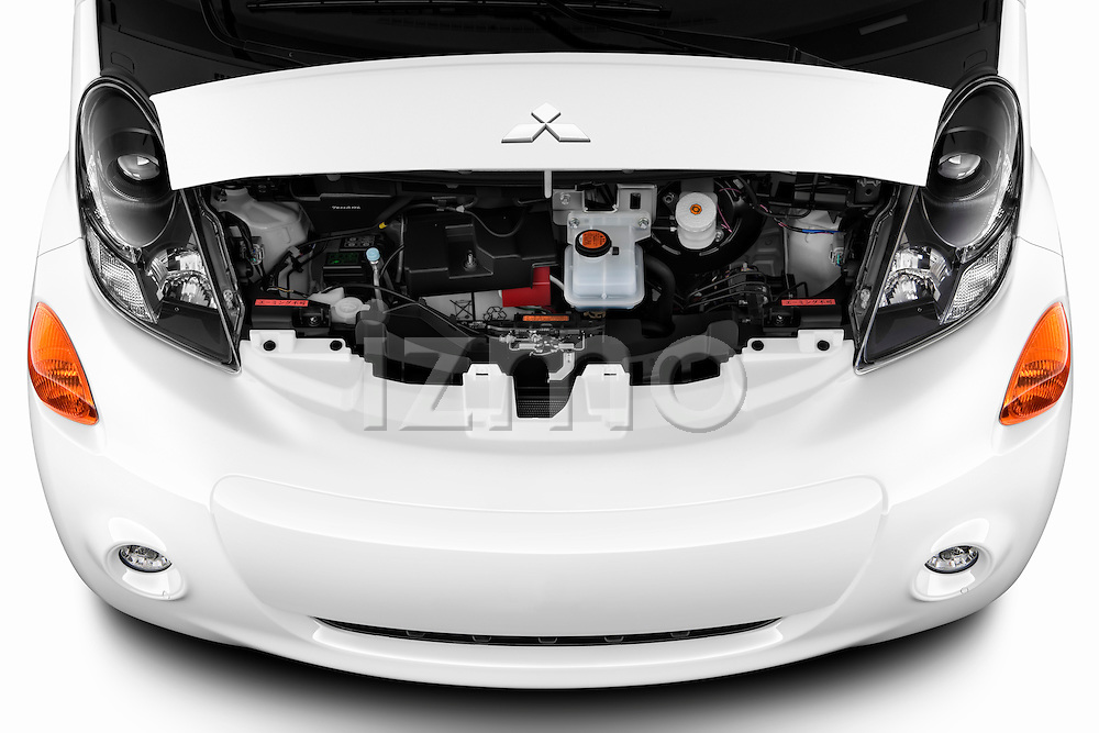 Hood and engine view of electric car 2012 Mitsubishi MiEV SE