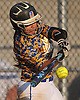 East Meadow shortstop No. 6 Crista San Antonio lifts a fly ball to the opposite field in the top of the fifth inning of a Nassau County varsity softball game against host Long Beach High School on Monday, May 4, 2015. Long Beach won by a score of 2-0.<br /> <br /> James Escher