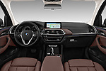 Stock photo of straight dashboard view of a 2018 BMW X3 xLine 5 Door SUV
