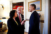 Washington, DC - May 26, 2009 -- United States President Barack Obama meets with Appeals Court Judge Sonia Sotomayor, the nominee to replace retiring Supreme Court Justice David Souter,  and Vice President Joseph Biden prior to an announcement in the East Room, Tuesday, May 26, 2009. .Mandatory Credit: Pete Souza - White House via CNP