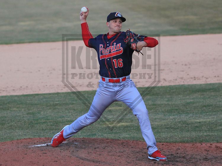 APPLETON - April 2015: pitcher Zach Loraine (16) of the Peoria Chiefs during a game against the Wisconsin Timber Rattlers on April 12th, 2015 at Fox Cities Stadium in Appleton, Wisconsin. (Photo Credit: Brad Krause)