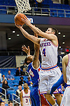Houston Baptist Huskies guard/forward Caleb Crayton (34) and Texas-Arlington Mavericks guard Drew Charles (4) in action during the game between the Houston Baptist Huskies and the Texas-Arlington Mavericks at the College Park Center arena in Arlington, Texas. UTA defeats Houston Baptist 81 to 47...