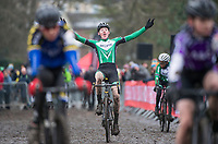 Picture by Allan McKenzie/SWpix.com - 10/12/17 - Cycling - HSBC UK National Cyclo-Cross Championships - Round 5, Peel Park - Bradford, England - Oliver Stockwell takes victory in the U16 boys race.