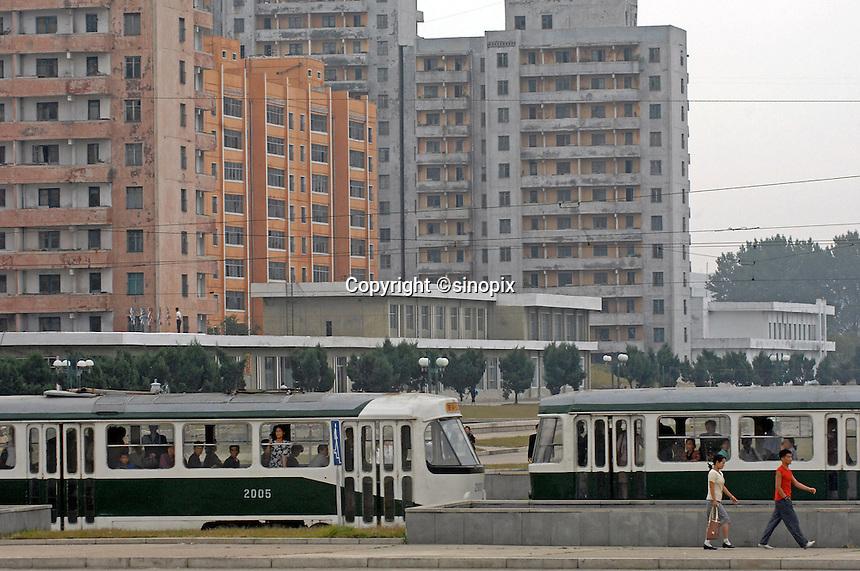 A trolley bus in PyongYang, North Korea.