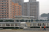 A trolley bus in PyongYang, North Korea.