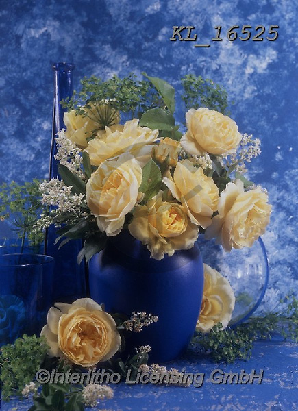 Interlitho-Helga, FLOWERS, BLUMEN, FLORES, photos+++++,yellow flowers, blue vas,KL16525,#f#, EVERYDAY