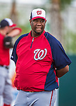 12 March 2014: Former Washington Nationals pitcher Livan Hernandez watches play as an instructor during a Spring Training game against the Houston Astros at Osceola County Stadium in Kissimmee, Florida. The Astros rallied in the bottom of the 9th to edge out the Nationals 10-9 in Grapefruit League play. Mandatory Credit: Ed Wolfstein Photo *** RAW (NEF) Image File Available ***