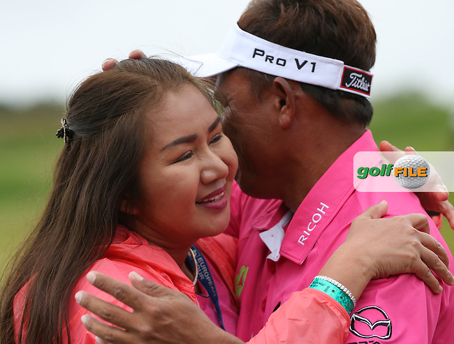 A very emotional /{prsn}/ hugs his dear wife after winning  the Final Round of the 100th Open de France, played at Le Golf National, Guyancourt, Paris, France. 03/07/2016. Picture: David Lloyd | Golffile.<br /> <br /> All photos usage must carry mandatory copyright credit (&copy; Golffile | David Lloyd)