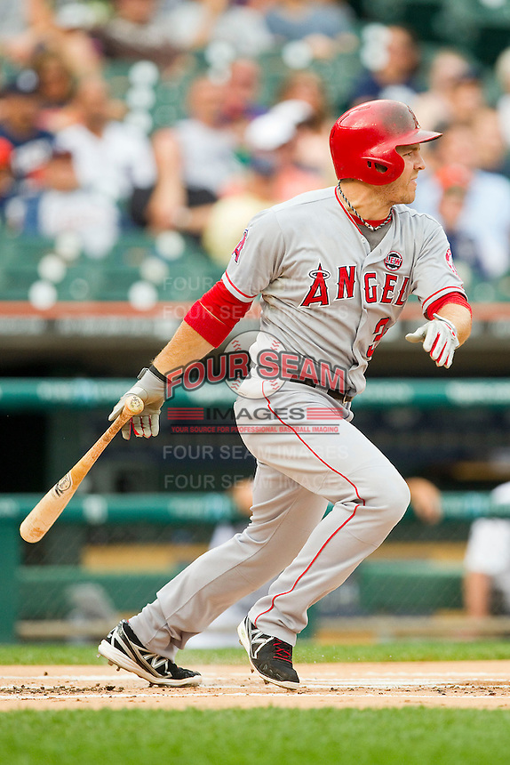 J.B. Shuck (39) of the Los Angeles Angels follows through on his swing against the Detroit Tigers at Comerica Park on June 25, 2013 in Detroit, Michigan.  The Angels defeated the Tigers 14-8.  (Brian Westerholt/Four Seam Images)