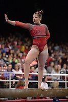 Arkansas' Kiara Gianfagna competes Friday, Feb. 7, 2020, in the beam portion of the Razorbacks' meet with Georgia in Barnhill Arena in Fayetteville. Visit  nwaonline.com/gymbacks/ for a gallery from the meet.<br /> (NWA Democrat-Gazette/Andy Shupe)