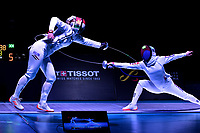 BOGOTA – COLOMBIA – 28 – 05 – 2017: Emese Szasz-Kovacs (Izq.) de Hungria, combate con A Lam Shin (Der.) de Corea, durante las Semifinales Damas Mayores Epee del Gran Prix de Espada Bogota 2017, que se realiza en el Centro de Alto Rendimiento en Altura, del 26 al 28 de mayo del presente año en la ciudad de Bogota.  / Emese Szasz-Kovacs (L) from Hungary, fights with A Lam Shin (R) from Korea, during Semi Finals Senior Women´s Epee of the Grand Prix of Espada Bogota 2017, that takes place in the Center of High Performance in Height, from the 26 to the 28 of May of the present year in The city of Bogota.  / Photo: VizzorImage / Luis Ramirez / Staff.