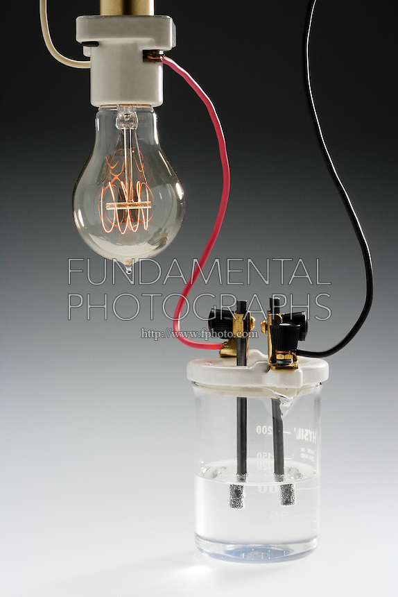 CONDUCTIVITY TEST<br /> (5 of 5)<br /> Solution of acetic acid<br /> Weak electrolytes dissociate (ionize) partially into ions in solution, providing few current carriers. The ions move toward the oppositely charged electrode giving up their charge. The bulb glows dimly. 1M CH3COOH(aq) is a weak electrolyte.