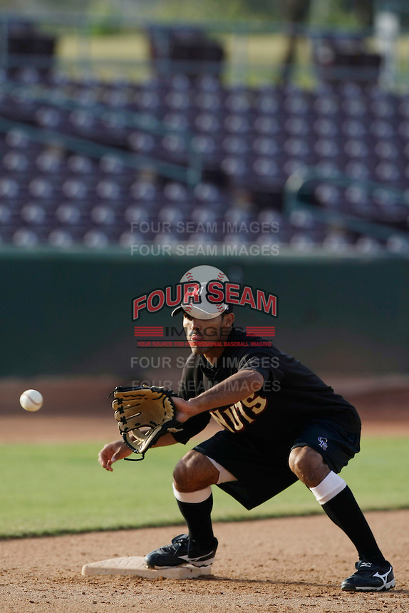 May 28 2009: Maikol Gonzalez of the Modesto Nuts before game against the Inland Empire 66'ers at Arrowhead Credit Union Park in San Bernardino,CA.  Photo by Larry Goren/Four Seam Images