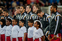 Wednesday 4th  December 2013 Pictured: Player line up for the anthems <br /> Re: UEFA European Championship Wales v Cyprus at the Cardiff City Stadium, Cardiff, Wales, UK