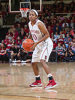 Stanford's Briana Roberson, looks for an open player during Stanford women's basketball  vs Washington State at Maples Pavilion, Stanford, California on March 1, 2014.