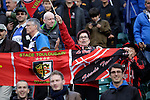 Toulouse fans celebrate their sides victory - European Rugby Champions Cup - Bath Rugby vs Toulouse - Recreation Ground Bath - Season 2014/15 - October 25th 2014 - <br /> Photo Malcolm Couzens/Sportimage