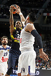 Real Madrid's Gustavo Ayon (r) and Fenerbahce Istambul's James Nunnally during Euroleague, Regular Season, Round 29 match. March 31, 2017. (ALTERPHOTOS/Acero)