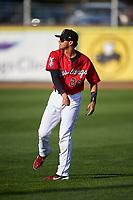 Billings Mustangs Victor Ruiz (26) throws a football before a Pioneer League game against the Grand Junction Rockies at Dehler Park on August 15, 2019 in Billings, Montana. Billings defeated Grand Junction 11-2. (Zachary Lucy/Four Seam Images)