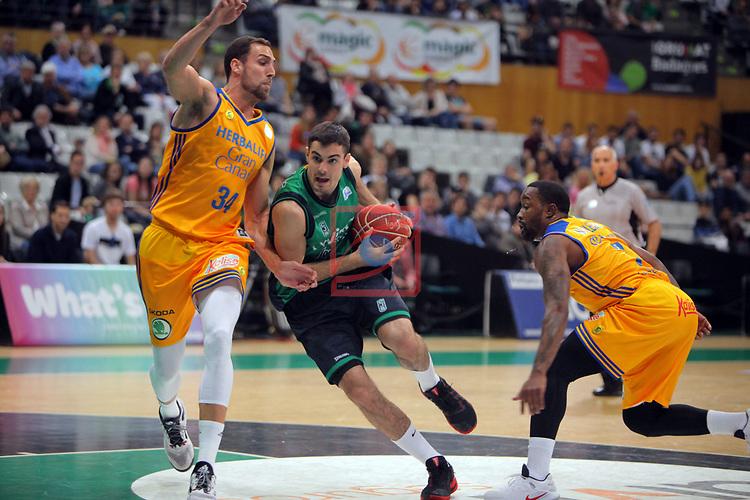 League ACB-ENDESA 2016/2017. Game: 28.<br /> Divina Seguros Joventut vs Herbalife Gran Canaria: 86-72.<br /> Pablo Aguilar, Alberto Abalde &amp; Bo McCalebb.