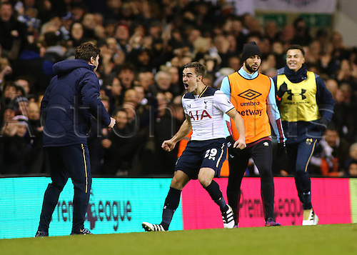 19.11.2016. White Hart Lane, London, England. Premier League Football. Tottenham Hotspur versus West Ham United. Tottenham Hotspur Midfielder Harry Winks celebrates his goal with Tottenham Hotspur Manager Mauricio Pochettino, after levelling the score at 1-1