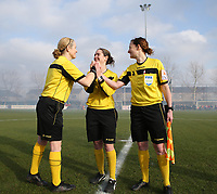 20200121- Oostakker, BELGIUM : The lineswomen Heide Houtthave (left), referee Irmgard van Meirvenne (middle) and lineswomen Joline Delcroix (right),  and ) do the handshake at the start of the semi final of Belgian Cup 2020 , women's soccer game between KAA Gent Ladies and R Standard de Liège Femina, on Sunday 26th January 2020, at at the PGB stadion in Oostakker, Ghent, BELGIUM . PHOTO: SPORTPIX.BE | SEVIL OKTEM