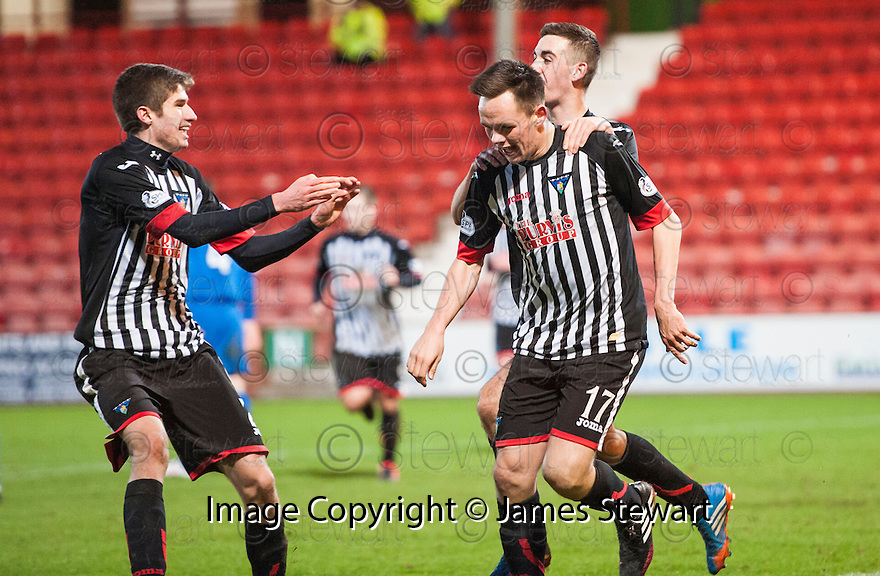 Par's Lawrence Shankland (17) celebrates after he scores their third goal on his debut.