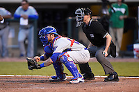 South Bend Cubs catcher Tyler Alamo (22) and umpire Brandin Sheeler during a game against the Dayton Dragons on May 11, 2016 at Fifth Third Field in Dayton, Ohio.  South Bend defeated Dayton 2-0.  (Mike Janes/Four Seam Images)