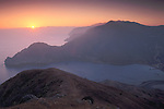 Overlooking Pacific Ocean and coastal hills above Catalina Harbor at sunset, Two Harbors, Catalina Island, California