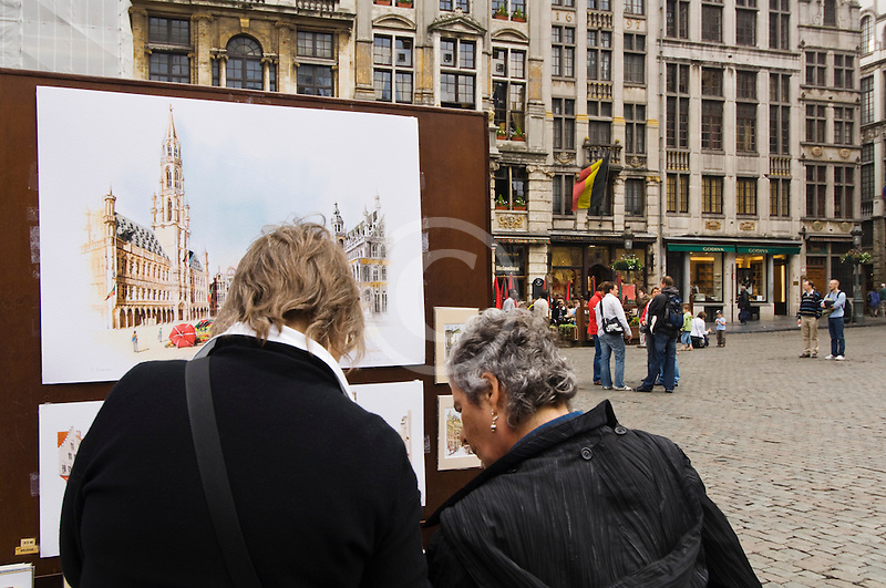 Belgium, Brussels, City of Brussels Museum, Grand Place, women looking at art display