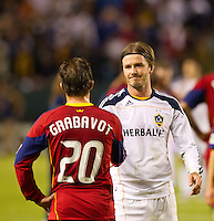CARSON, CA - November 6, 2011: Real Salt Lake midfielder Ned Grabavoy congratulates LA Galaxy midfielder David Beckham after the match between LA Galaxy and Real Salt Lake at the Home Depot Center in Carson, California. Final score LA Galaxy 3, Real Salt Lake 1.