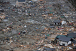 Photo shows the view if the wasteland created by the March 11 tsunamis from Hiyoriyama hill, which dominates central Ishinomaki, Miyagi Prefecture, Japan on 15 March, 2011.  Photographer: Robert Gilhooly