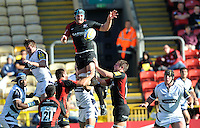 Aviva Premiership Rugby Saracens v Sale Sharks from Vicarage Road, Watford, England. 11th September 2010.  Steve Borthwick of Saracens wins the line out. Saracens win the game 28-13.