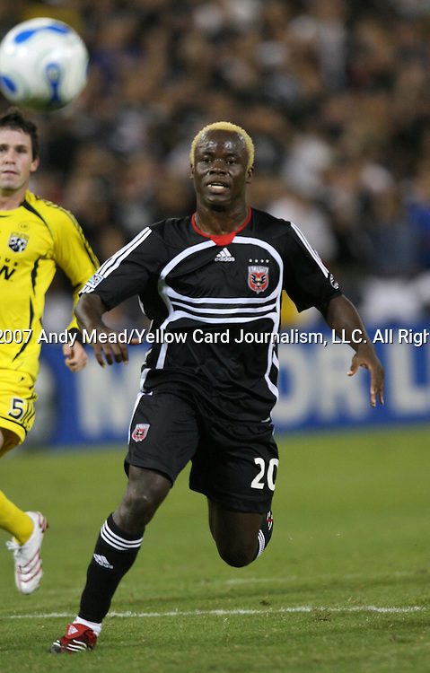 20 Octoboer 2007: DC's Guy-Roland Kpene (CIV).  The Columbus Crew defeated DC United 3-2 at RFK Stadium in Washington, DC in a Major League Soccer 2007 regular season game.