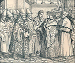 "'The White Russian Federation with the Emperor Max', c1507, (1907). Artist: Unknown. *** Local Caption *** ""'The White Russian Federation with the Emperor Max', c1507, (1907). The emperor Maximillian I receiving the embassy of Vassilie III Ivanovitch (1505-1533). Maximilian I (1459-1519), the son of Frederick III, Holy Roman Emperor, and Eleanor of Portugal, was King of the Romans (also known as King of the Germans) from 1486 and Holy Roman Emperor from 1508 until his death in 1519.From The World's History, Volume V, by Dr. H. F. Helmolt. [William Heinemann, London, 1907]"""