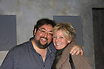 "One Life To Live's Scott Sickles (writer OLTL and Artistic Director WorkShop Theatre Co) poses with ATWT Ellen Dolan (see starred in same play a year ago and now she came to Scott and Florencia in ""Verbatim Verboten - NYC"" on October 18, 2010 at the WorkShop Theater, NYC. (Photo by Sue Coflin/Max Photos)"