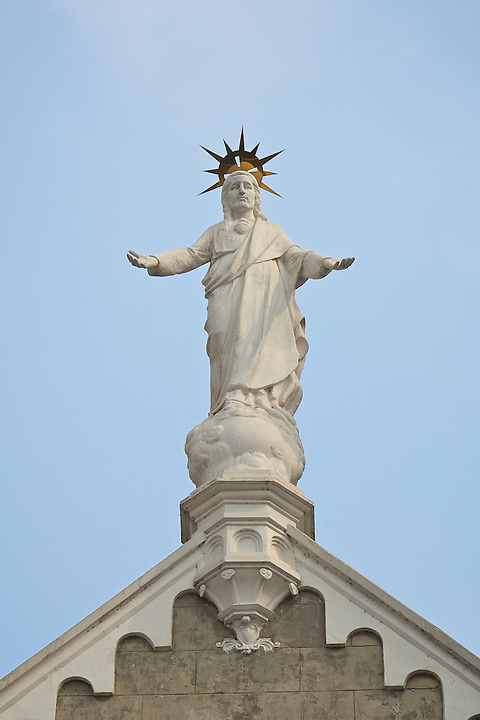 The Statue Of Christ On The Roman Catholic Cathedral In Wuhu.  The Statue Is A Replacement, The Original Having Been Destroyed By Red Guards In The Sixties.