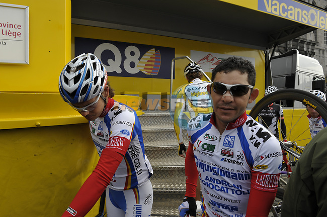 Serramenti-Diquigiovanni team members Jose Serpa and Luca Celli (ITA) at sign on before the start of the 95th running of Liege-Bastogne-Liege cycle race, 26th April 2009 (Photo by Eoin Clarke/NEWSFILE)