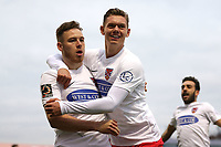 Ben House (L) of Dagenham and Redbridge scores the first goal for his team and celebrates during Dagenham & Redbridge vs Aldershot Town, Vanarama National League Football at the Chigwell Construction Stadium on 16th November 2019