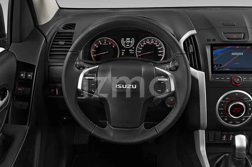 Car pictures of steering wheel view of a 2019 Isuzu D-Max LSX-4wd-crew-cab 5 Door Pick-up Steering Wheel